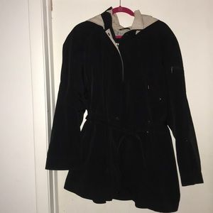 Black Trench Coat with Built In Belt